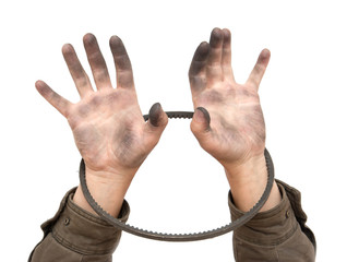dirty man's hand with a rubber strap
