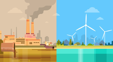 Clean And Polluted Dirty City Environmental Green Energy Concept Wind