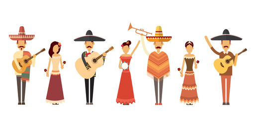 Mexican People Group Wear Traditional Clothes Play Music Instruments Full Length
