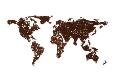 World map lined with coffee