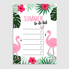 Summer greeting card, invitation. Wish list. Flamingo bird, palm leaves, hibiscus flowers, cheese plant. Web banner.