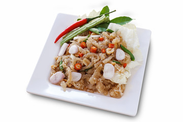"Thai appetizer food called ""Mooh Nam"".  Minced and pounded roast"