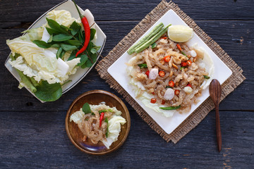 """Thai appetizer food called """"Mooh Nam"""".  Minced and pounded roast"""
