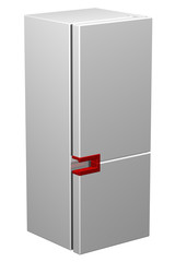 White refrigerator with red handle. 3D rendering.