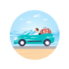 Traveling by car cabriolet, adventure, vacation, holiday, summer. Flat design vector illustration.