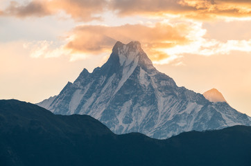 Machapuchare mountain (Mt.Fish tail) one of the iconic peak in Annapurna conservation area of Nepal.
