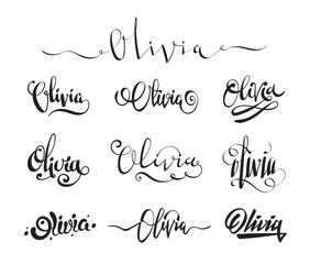Personal name Olivia. Vector handwritten calligraphy tattoo design set