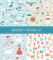 Cute seamless childrens background