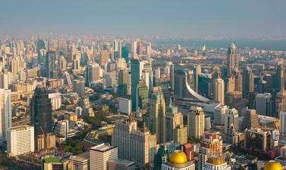 Bangkok at night or Twilight, Aerial Scenic Panoramic view