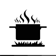 Cooking On Fire Icon Illustration design