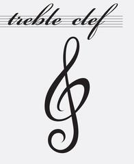 monochrome icon of treble clef