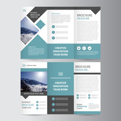 Blue square vector trifold business Leaflet Brochure Flyer template design set