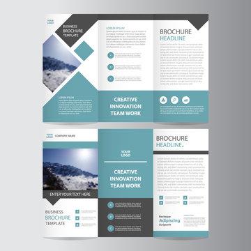 Blue square vector trifold business Leaflet Brochure Flyer template design set