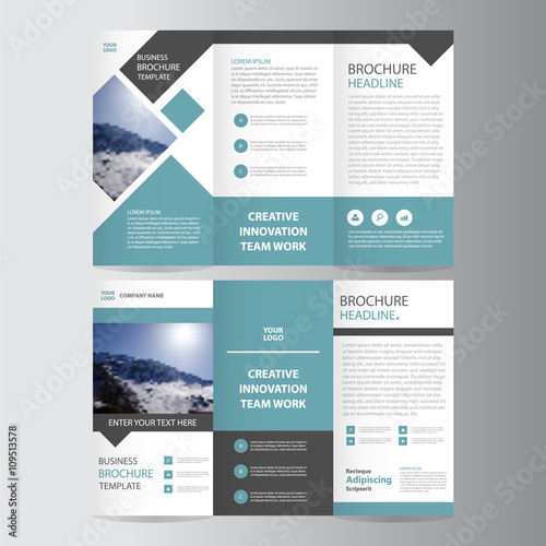 blue square vector trifold business leaflet brochure flyer template