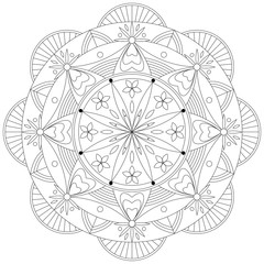 Adult Coloring Book Mandala Pattern / Template - vector eps 10