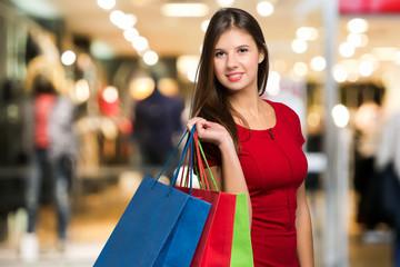 Beautiful woman shopping ni a mall
