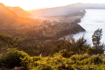 View on indonesian landscape at sunrise