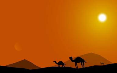 the desert pyramid sunset background vector art