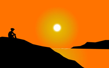 sunset beach alone background abstract vector art