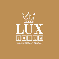 White logo on a gold background with a picture of the silhouette of the crown and the words Lux. It symbolizes the highest quality, strength, indestructibility. Vector Illustration.