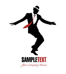 Elegant man silhouette dancing swing. Good for logotype
