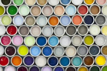 Paint tin samples, multicoloured.