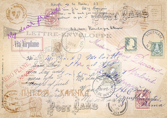 vintage grunge background with a set of postage-stamps and stams.vector illustration