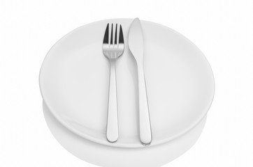 Dining etiquette - the meal is over or finished. Fork and knife signals with location of cutlery set. Photo illustration isolated on white background.