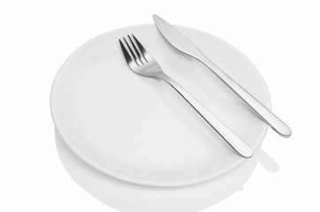 Dining etiquette - the meal is over. Fork and knife signals with location of cutlery set. Photo illustration isolated on white background.