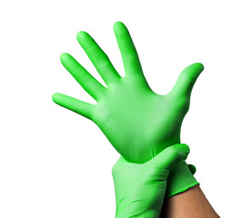 Doctor putting on protective gloves, isolated