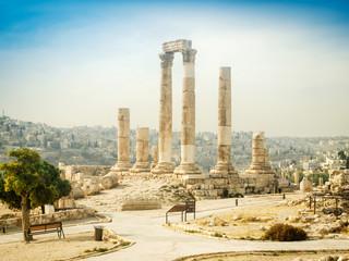 temple of hercules on the citadel in amman, jordan