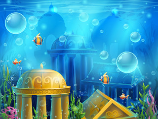 Atlantis ruins - vector background  illustration screen