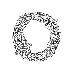 Letter O coloring book for adults vector