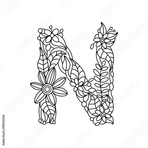 Letter N Coloring Book For Adults Vector