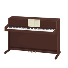 brown upright piano with notes on white background