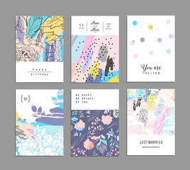 Set of creative universal floral cards with place for your text. Vector