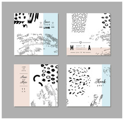 Set of artistic creative universal cards. Hand Drawn textures. Vector