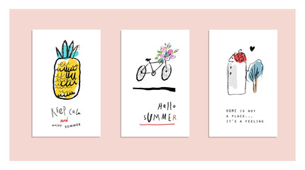 Cute hand drawn posters about summer. Creative and funny cards. Vector