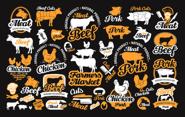 vector set of butchery labels, logos, icons, design elements