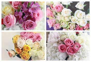 Collage set of colorful roses bouquets. Soft pastel colors