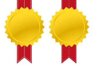 Blank Gold medal with red banner