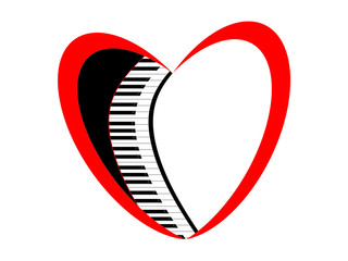 Keys of the piano and symbol of the heart