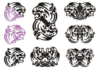 Tribal tiger head symbols. Flaming growling tiger head in violet and black color and double symbols of the tiger head
