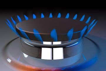 gas blue flame kitchen cook fire butane 3d rendering