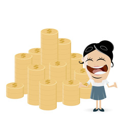 funny cartoon woman with stack of money
