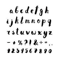 Alphabet, numbers and punctuation marks ink handwritten lettering. Hipster and vintage style. Perfect for your design!