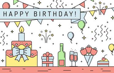 Happy birthday multicolored horizontal greeting card. Modern outline minimalistic design.