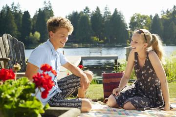 Couple enjoying lake party, Seattle, Washington, USA
