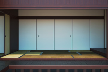 Image of the empty interior main room in the Japanese style. 3d illustration.