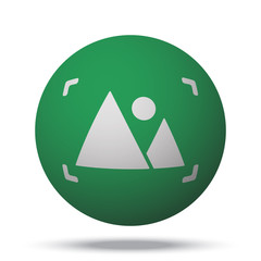 White Picture web icon on green sphere ball